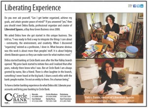Circle Bank ad featuring Debra Baida of Liberated Spaces
